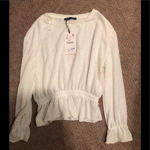 Zara ruffle knit sweater top small nwt white ivory